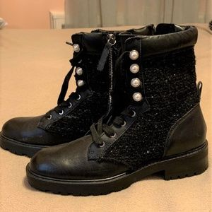 ZARA Tweed & Pearl Leather Combat Moto Boots  SZ 7